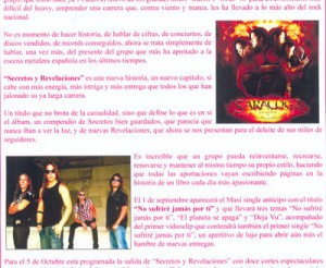 Detalle de la bio donde se puede ver la portada del disco