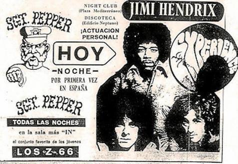 Anuncio del concierto de The Jimi Hendrix Experience en Mallorca