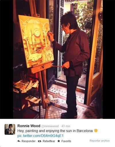 Ronnie Wood pintando en Barcelona