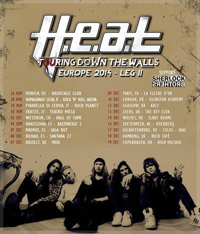 Cartel del tour europeo de H.E.A.T.