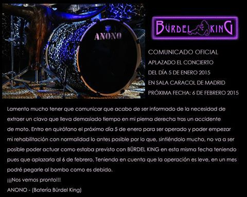 Comunicado de Anono acerca del aplazamiento del concierto de Bürdel King