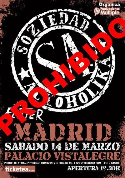 Prohibido el concierto de Soziedad Alkohólika en el Palacio de Vistalegre de Madrid
