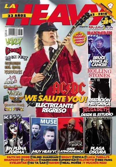 La portada de la revista La Heavy nº374 es para Angus Young de AC/DC