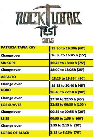 Horarios definitivos de Rocktubre Fest 2015