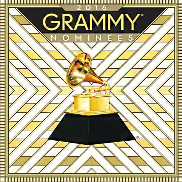 Cartel de nominados de los Grammy 2016 con el trofeo en el medio