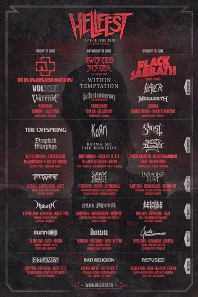 Cartel del festival Hellfest 2016 con las últimas incorporaciones de Gutterdämmergun o Killswitch Engage
