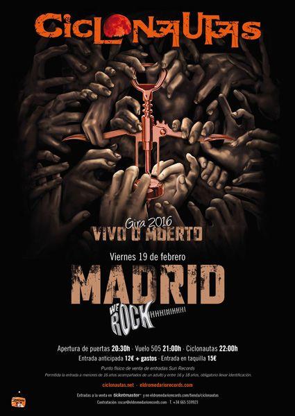 Cartel de Ciclonautas en la sala We Rock de Madrid el próximo viernes 19 de febrero con Vuelo 505