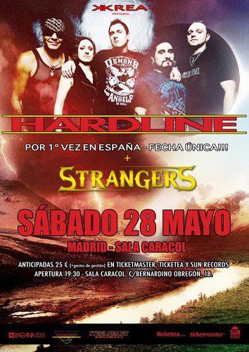 Cartel del concierto de Hardline en España junto a Strangers en la que será su primera visita el próximo 28 de mayo en la sala caracol