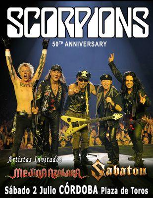 Póster de Scorpions en la Plaza de Toros de Córdoba junto a Medina Azahara y Sabaton el próximo 2 de julio