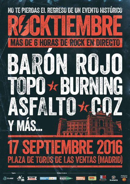 Cartel del festival de Madrid Rocktiembre 2016 con Barón Rojo, Topo, Burning, Asfalto y Coz