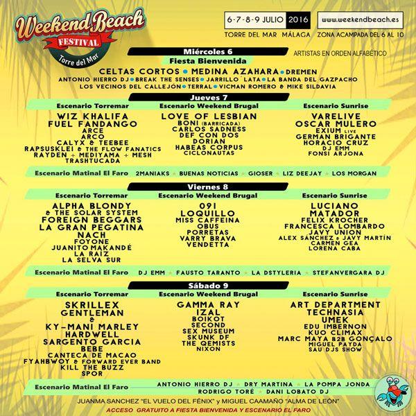 Cartel del Festival Weekend Beach 2016 por escenarios y días