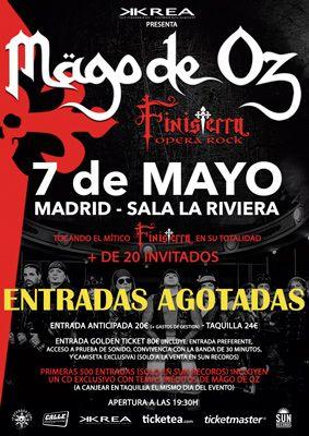 Cartel del concierto de Mägo de Oz en la sala La Riviera de Madrid presentando 'Finisterra Opera Rock' con entradas agotadas