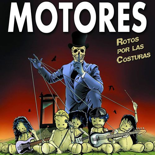 Portada del nuevo disco de la banda gallega Motores: Rotos por las costuras (2016)