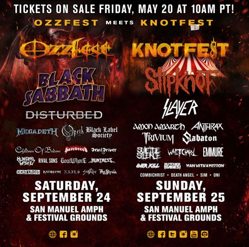 Cartel del festival Ozzfest meets Knotfest con grupos como Black Sabbath, Slipknot, Disturbed o Slayer
