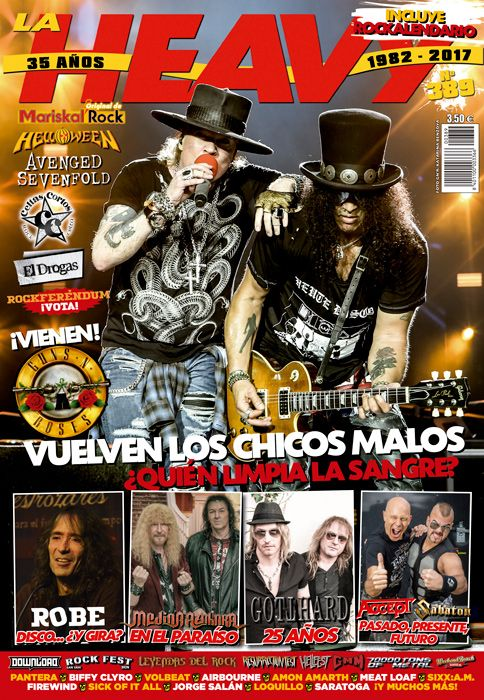 Portada de La Heavy Nº389 (diciembre 2016 y enero 2017) con Guns N' Roses en portada