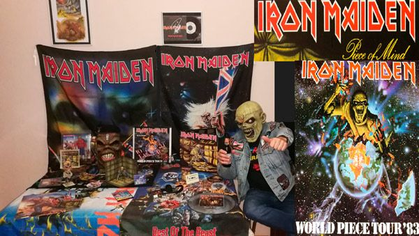 f82aa17b72 Micky Maiden, autor del artículo, con una pequeña parte de su colección de  artículos de Iron Maiden
